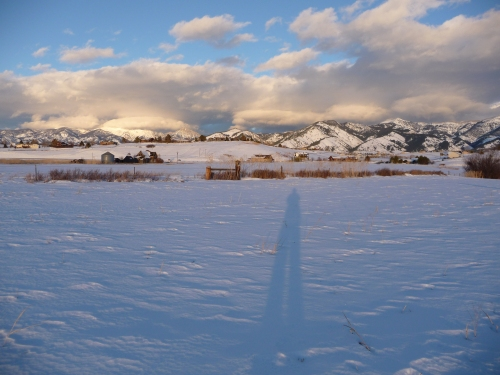 Cross country skiing behind my in-laws' house in Bozeman